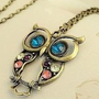 Chick&amp;Stylish - SODIAL- Vintage style colorful Owl charm necklace