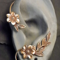 Flower and Leaf  Ear Wrap - GOLDEN GARDEN - Brass Ear Cuff Wrap