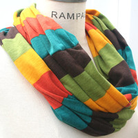 Rainbow Infinity Scarf FREE SHIPPING Jersey Infinity  Color Block Jersey Infinity Scarf Multicolor Stripes Eternity Retro Scarf - By PIYOYO