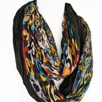 Black / Multicolor Infinity Scarf, Long Scarf, Neckwarmer, Gift