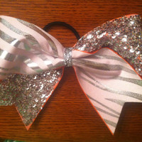 "3"", 3 inch cheer cheerleader bow SILVER  sequins and zebra on ORANGE ribbon--Team Bows"