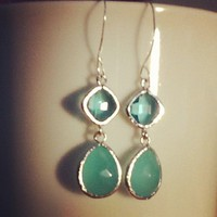 Framed Glass Silver Plated Earrings.. on Luulla