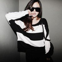 Korean Women Fashion T-SHIRT #1052 Lady Long Batwing Sleeve Casual Tee Tops