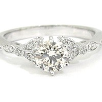 Round art deco antique diamond engagement ring 1.00ct 18k