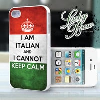 iPhone 4 4s Hard Case  Italian Flag Keep Calm  by LuckybrewDesigns