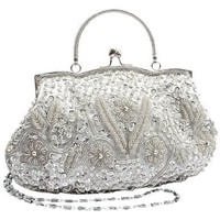 Antique Retro Flower Garden Embellished Seed Bead Sequin Kiss Closure Clasp Soft Clutch Evening Bag Purse Handbag with Handle / Detachable S