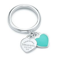 Tiffany &amp; Co. -  Return to Tiffany double heart ring in silver with Tiffany Blue enamel finish.