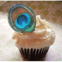 Amazon.com: Edible Peacock Feathers - Set of 12 - Cake Decorations, Cupcake Topper: Everything Else