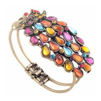 Amazon.com: SODIAL- Multi Vintage Colorful Crystal Peacock Bracelet Bangle: Toys & Games