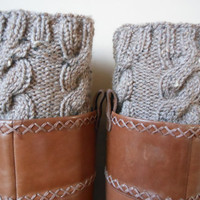 Hand Knitted Boot Cuffs Leg Warmers 2in1 Cream and by MyKnitCroch