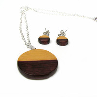 Horizon Wamara Rosewood Stud Earrings and Necklace set by Tanja Sova