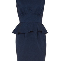 Blue peplum herringbone dress - View All - Dresses - Dorothy Perkins