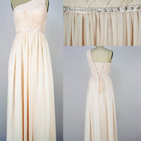 One-shoulder Long Chiffon Prom Dress Evening Gown Bridesmaid Dress