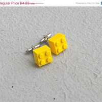 SALE Lego Cufflinks Yellow Brick Lego Cuff Links Building Block geeky boyfriend hubby anniversary handmade upcycled recycled toy