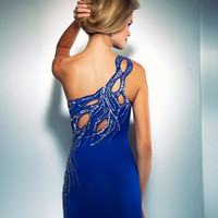 Mac Duggal Prom 2013- Cobalt One Shoulder Gown With Embellishments - Unique Vintage - Cocktail, Pinup, Holiday & Prom Dresses.