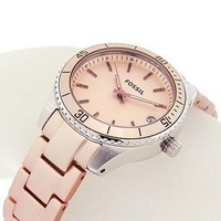 New Fossil Womens Lovely Pink Aluminum Strap Watch w/ Pink Dial