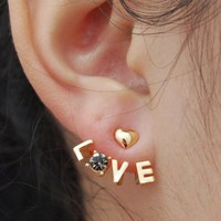 Amazon.com: Gold Plated Rhinestone Heart Letter Love Stud Earrings for Women Girls: Sports &amp; Outdoors