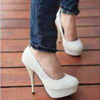 White Platform Stiletto Heel Round-toe Women's Shoes: tidestore.com