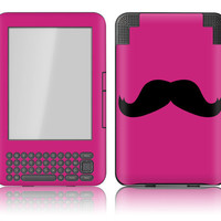 Amazon Kindle 3 / Keyboard Skin Cover - Magenta Mustache