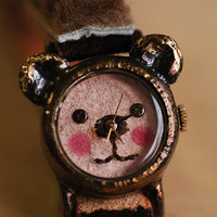 Vintage Watch. Leather Band ///////// Handcraft Watch ///////// GomGom brownhair