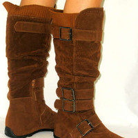 *Warm Knit Top*SoOo Ctue!!* Comfy Slouchy Faux Suede Flat Buckle Boots TAN 7.5