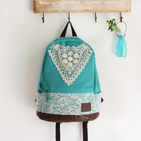 triangle lace canvas female fresh backpack-blue-EMS