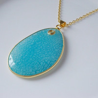 Blue Jade Gemstone Necklace in Gold Pendant
