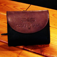 vintage Perry Ellis black and brown leather wallet.  gift for him