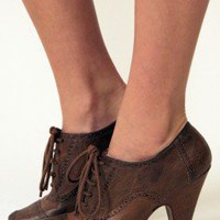 Kitten Heel Oxfords - Nectar Clothing