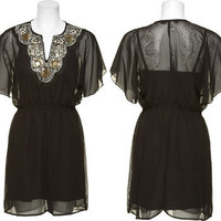 15DOLLARSTORE.COM - TRIXXI Chiffon Kabuki Dress W/ Sequin & Bead Neckline (Black)