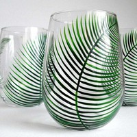 Fern Stemless Wine GlassesSet of 4 by MaryElizabethArts on Etsy