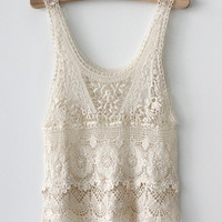 Southwestern White Crochet Lace Flower Pattern Tunic Blouse from ClothLess