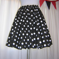 Black and White Polka Dot Circle Skirt Custom Made Any Size Womens skirt Cotton Full Skirt