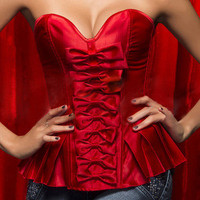 #1308 Tops Lace Up Sexy Strapless Satin Boned Bustier Corset S-2XL Lady Bow-knot