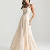Champagne Chiffon Embellished One Shoulder Empire Waist Prom Dress - Unique Vintage - Cocktail, Pinup, Holiday & Prom Dresses.
