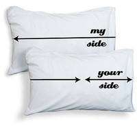 Set Of Two &#x27;My Side Your Side&#x27; Pillowcases