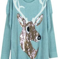 Sequined Deer Sweater