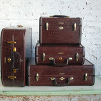 Vintage Samsonite leather luggage Set of 4