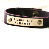 Enjoy the Journey Bracelet...Silver...Handstamped...Encouragement...Modern...Simple...Free Shipping
