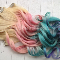 Pastel Tie Dye Hair Blonde Ombre Hair by NinasCreativeCouture