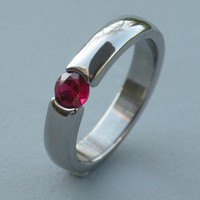 Eye of the Beholder 1/2 Carat Lab Created Ruby Tension Wedding Ring