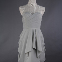 Grey Bridesmaid Dress, A-line Sweetheart Mini Chiffon Bridesmaid Dress