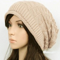 Beige /Coffee/ Black Women's Knit Hat Winter Autumn Hat Elastic Hat