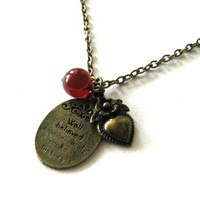 Charm Necklace Heart And Carnelian .. on Luulla