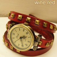 Studded Leather Vintage bronze Bracelet Watch