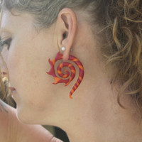 Fire Dancer Gauge and Fake Gauge Earrings
