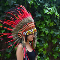 Indian Red  and shining dark green Feather Headdress