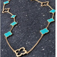 [BACK IN STOCK] - CHIC BOUTIQUE CLOVER CHARM LONG NECKLACE - Jade