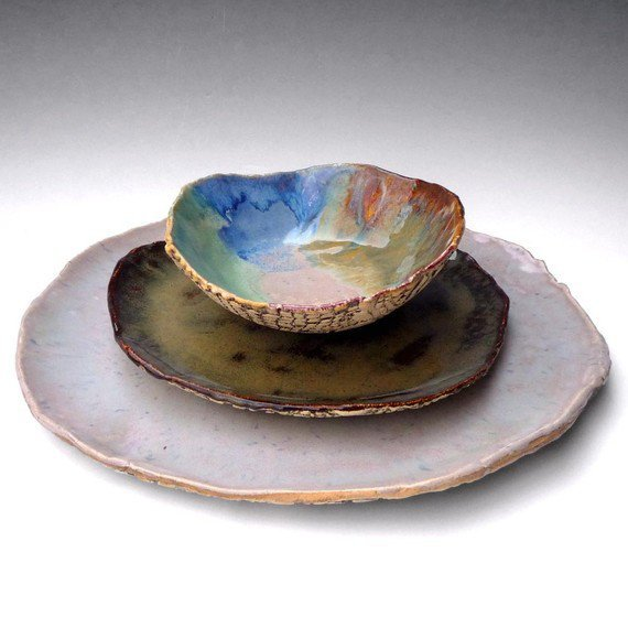 Rustic Stoneware Pottery Dinnerware Set From Oneclaybead