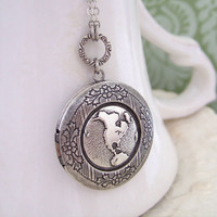 ONE WORLD antique silver locket long necklace by plasticouture